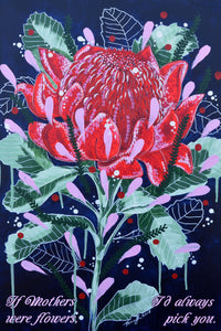Waratah print with quote.