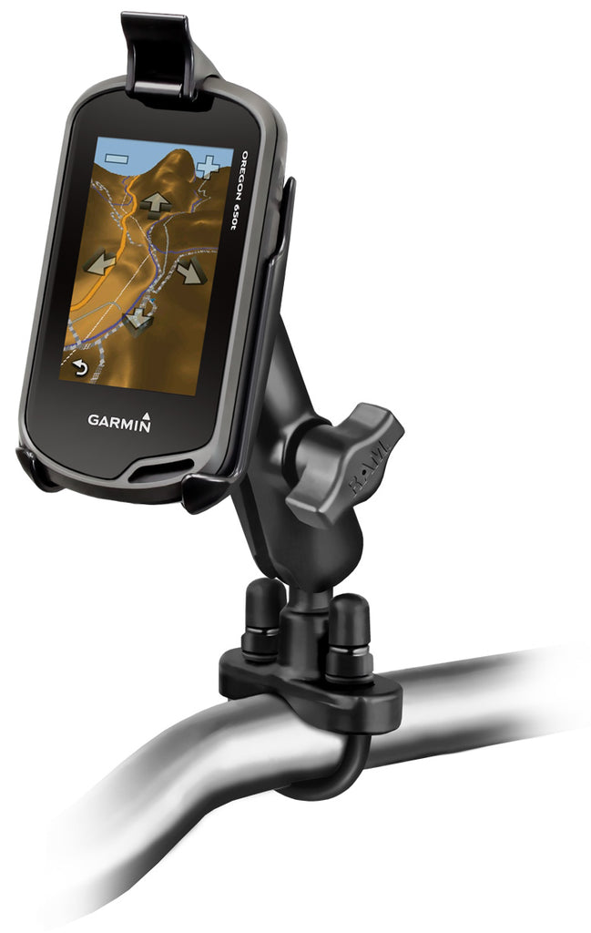 RAM Handlebar U-Bolt Double Ball Mount for Garmin Approach G5, Oregon 200, 300, 400c, 400i, 400t, 450, 450t, 550, 550t, 600, 600t, 650, 650t - landloop