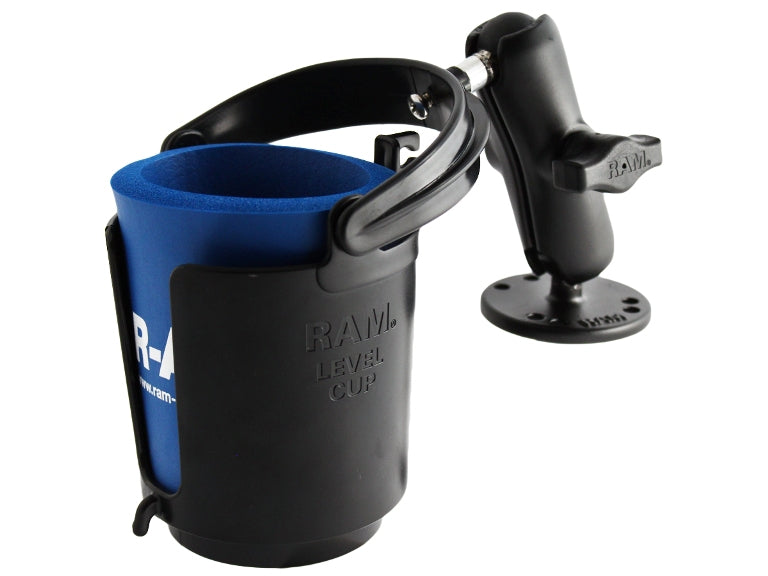 "RAM-B-132U-MC1 RAM 1"" Ball Mount w/ Round Base Self-Leveling Cup Holder (no Koozie) - landloop"