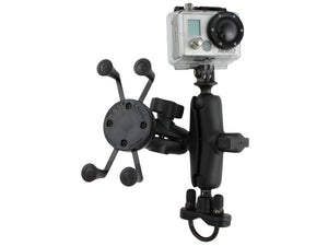 "RAM Mounts Motorcycle Mount w/ GoPro Adapter X-Grip Cradle & 1"" Ball Accessory Base - Landloop"