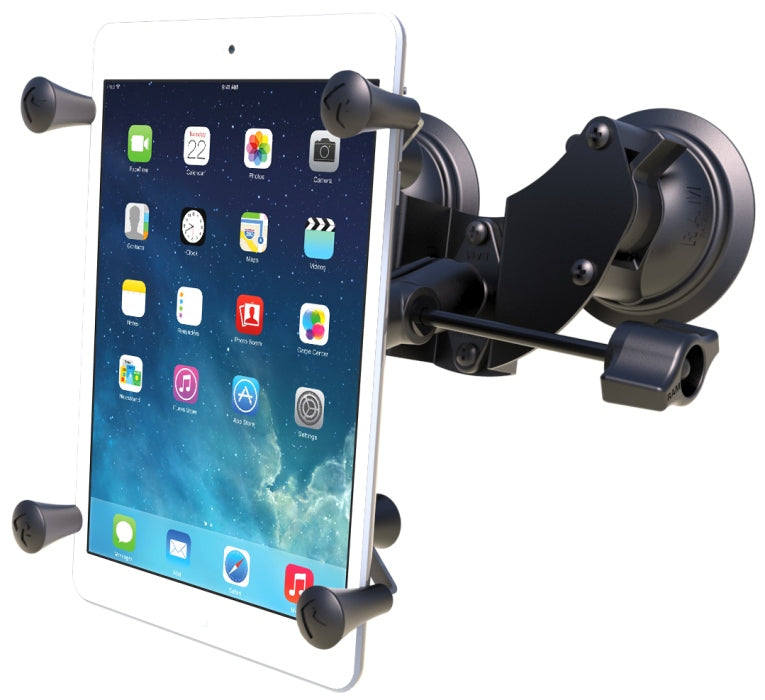"RAM Mounts Suction Cup Windshield X-Grip Mount Holder Kit w/ Retention Knob fits 7"" Tablets - Landloop"