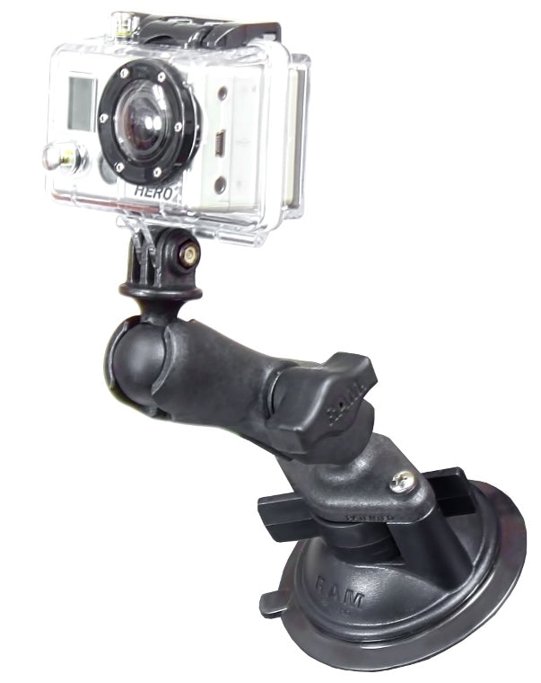 "RAP-B-166-GOP1 RAM Mounts Twist-Lock Composite Suction 1"" Ball Mount with Action Camera Adapter - landloop"