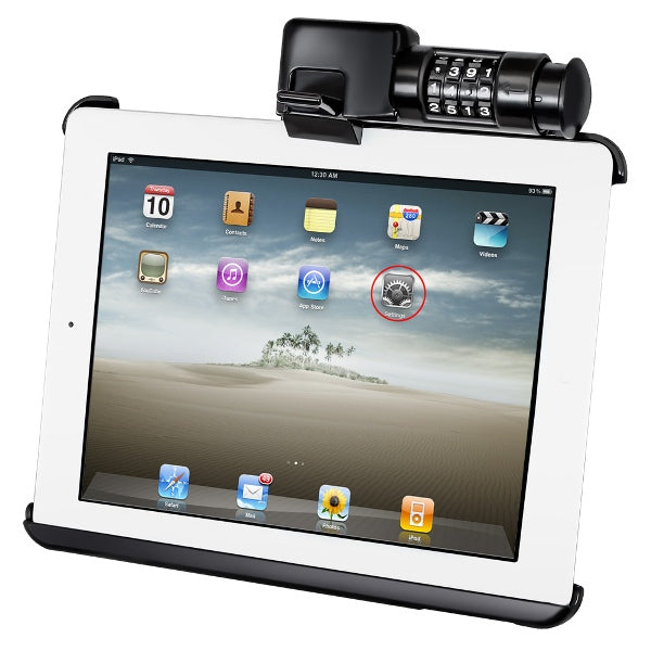 RAM-HOL-AP8LU RAM Mounts Latch-N-Lock Cradle for Apple iPad 1-4 - landloop
