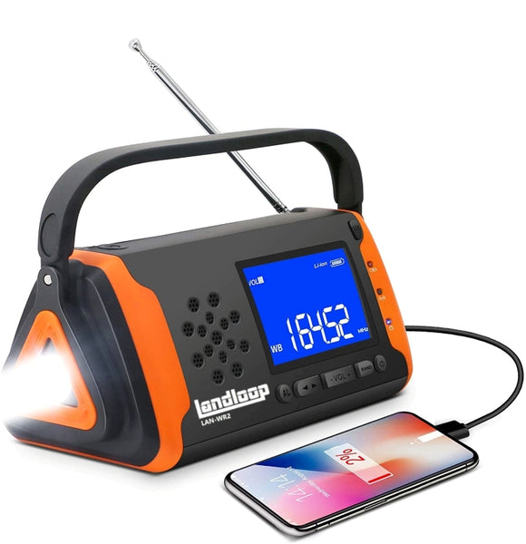 Landloop [2020 latest version] Emergency Solar Powered NOAA Weather Crank Portable Radio with 4000mAh Battery Power for Cell Phone, Super Bright Flashlight for Home Emergency & Outdoor Survival - Landloop