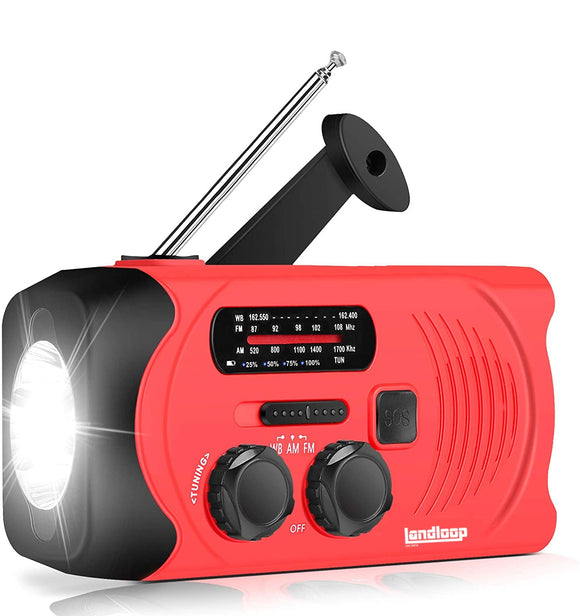 landloop [2020 Latest Version] Emergency Survival Weather AM/FM NOAA Solar Powered Wind up Crank Radio with SOS Alarm, 2000mAh Power Bank for Smartphone Charging and Bright LED Flashlight (Red) - Landloop