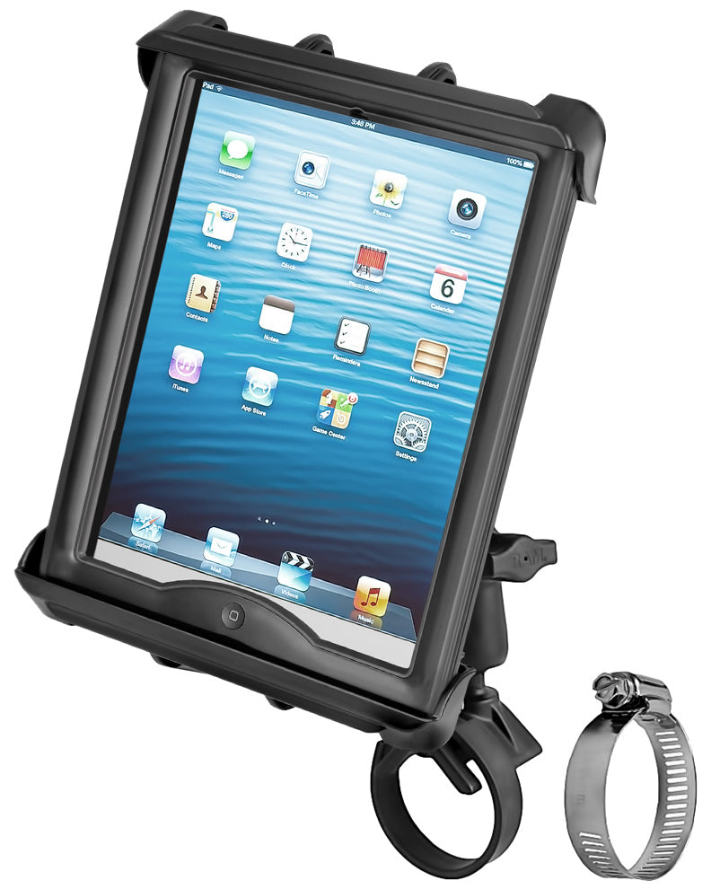 RAM-B-108-TAB8U RAM Mounts Tab-Tite Mount with Strap Hose Clamp for iPad with Case + More - landloop