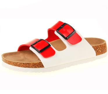 860cd9d7c Women s Double Buckle Sandals Flat Heel Flip Flops Soft Cork Shoes. Loading  zoom