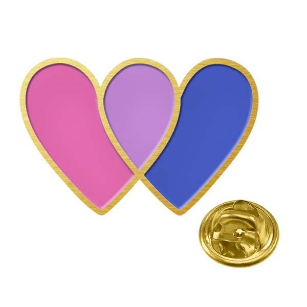 BI-HEART ENAMEL PIN