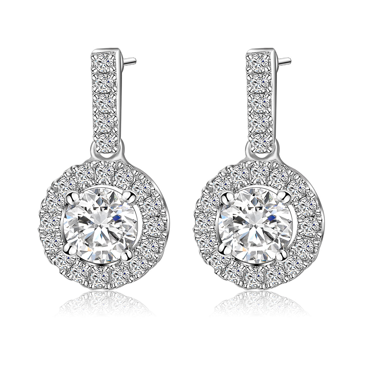 Benmani White Gold Platted Round Princess Halo Earrings