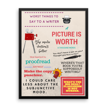 Worst Things to Say to a Writer | Framed Poster