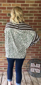 Brown long sleeve shirt with green leopard print