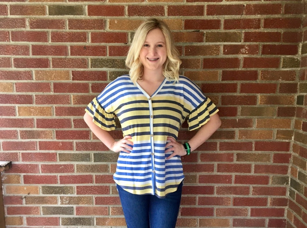 Blue and yellow stripe top