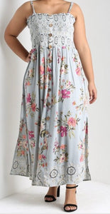 Curvy grey floral dress