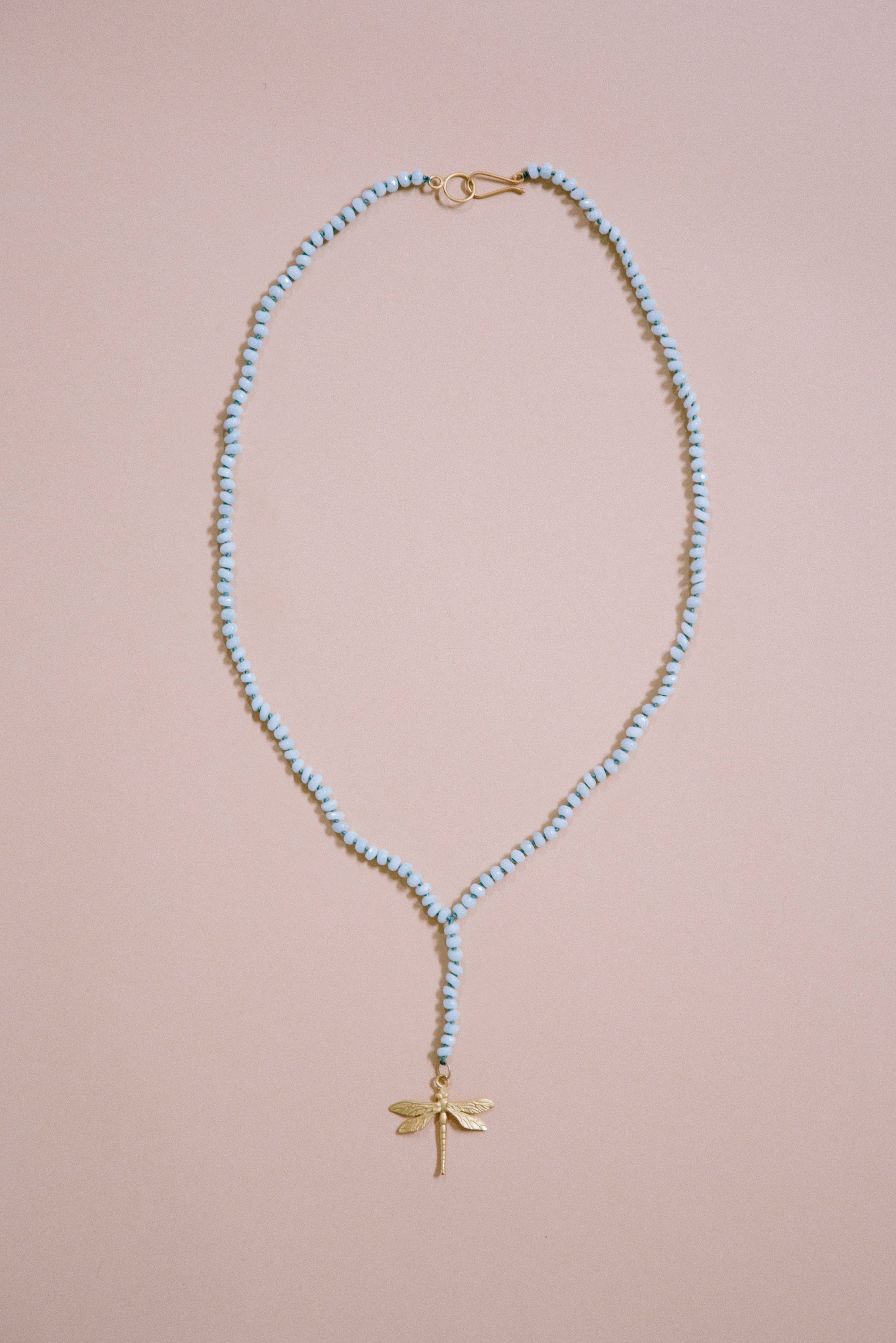 Light Teal Quartz Dragonfly Rosary