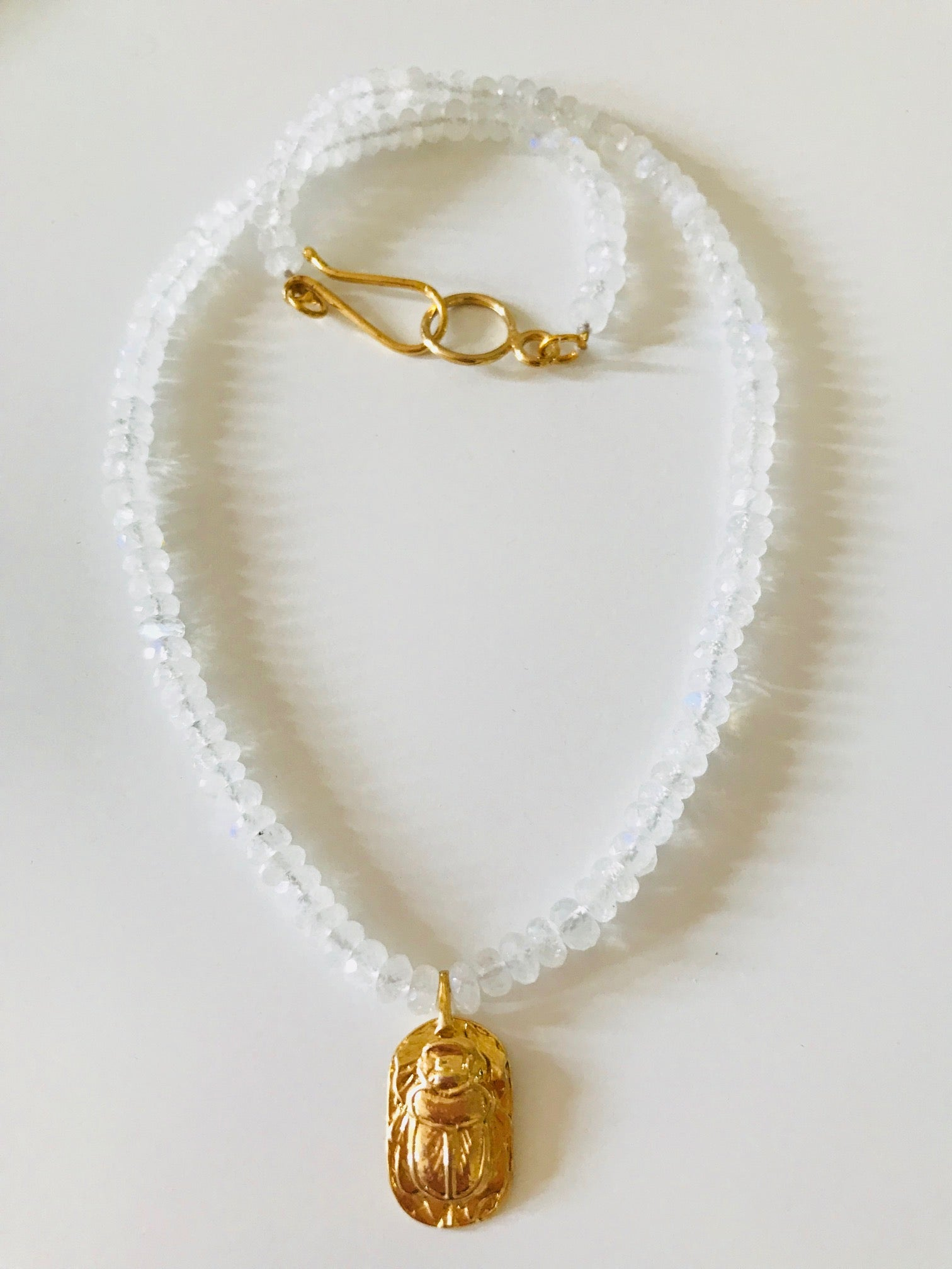 Moonstone Scarab Necklace