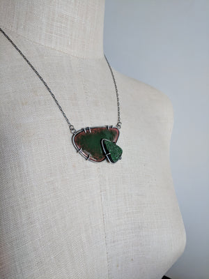 Green Garnet and Enameled Necklace