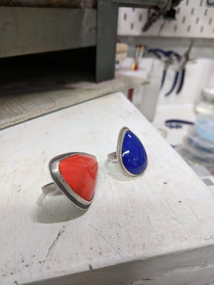 Bright Cobalt Tear Drop Ring Size 6.5