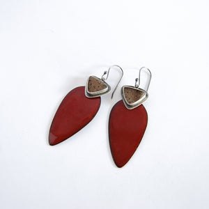 Deep Red and Druzy Earrings