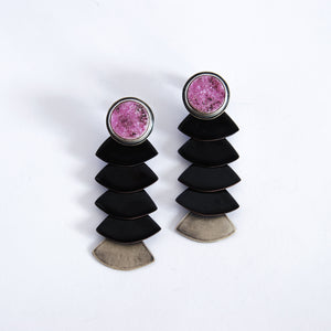 Pink and Black Druzy Tassel Earrings
