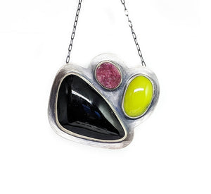 Enamel and Druzy Collage Necklace