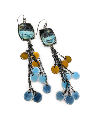 Opalized Wood and Enamel Dangle Earrings