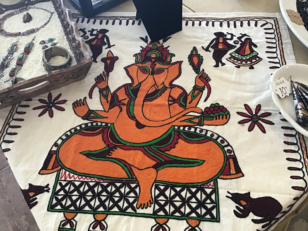 Ganesha Embroidered Square