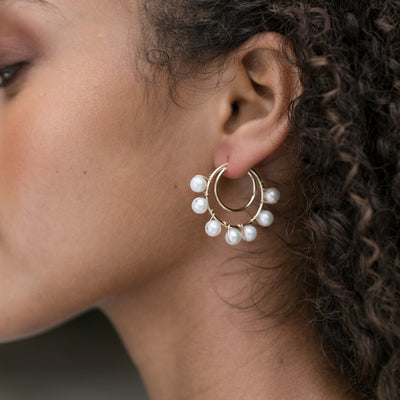 Double Line Hoops with Pearls--Small