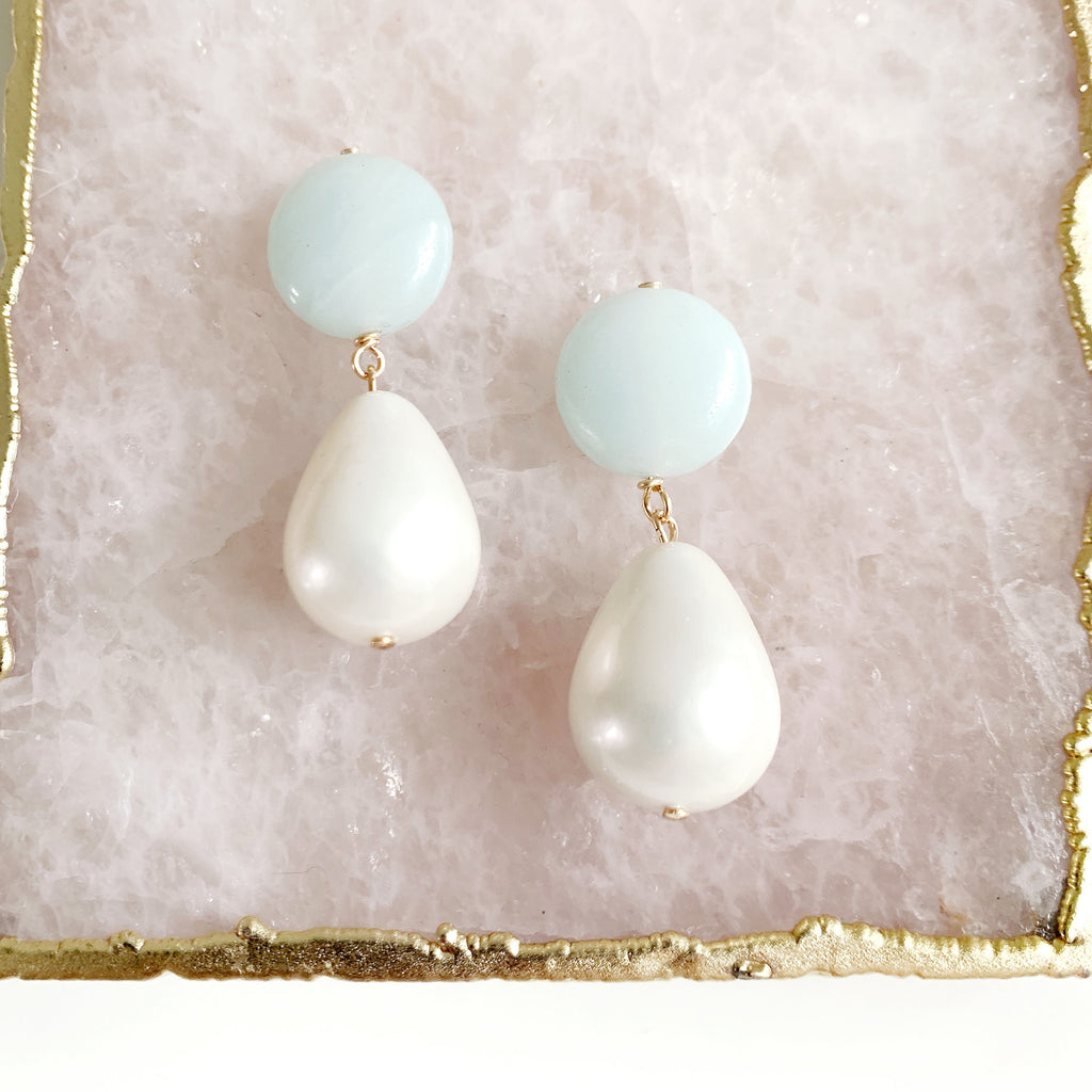 Aquamarine and Mother of Pearl Drop Earrings