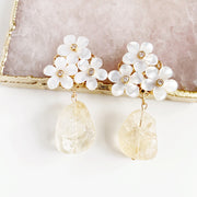 Citrine and Five Petal Earrings