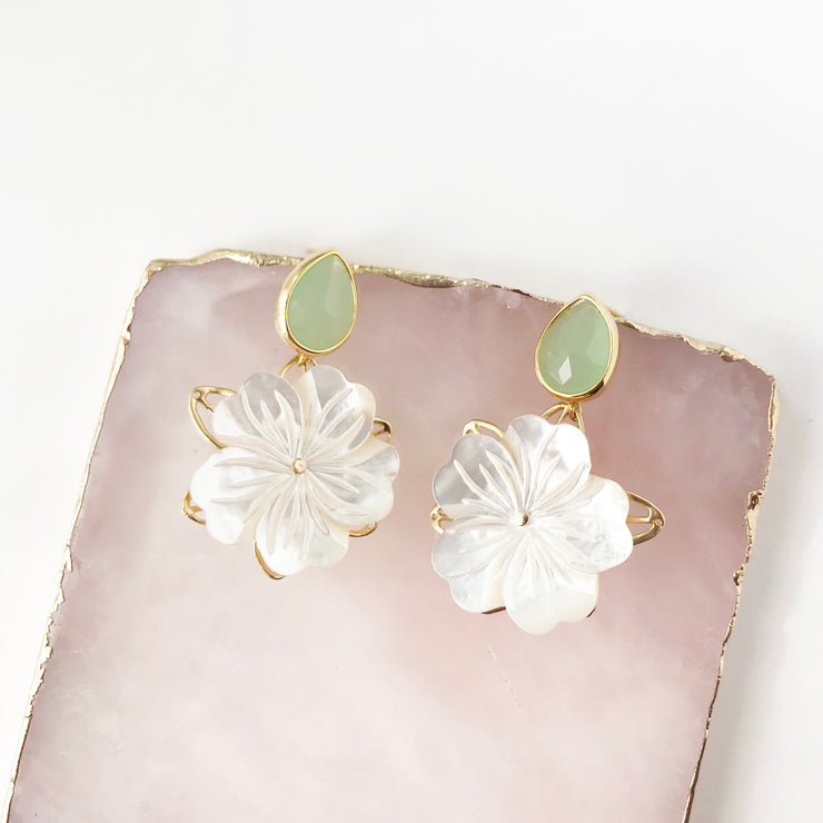 Crystal Stud and Mother of Pearl Flower Earrings