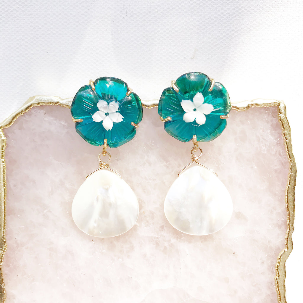 Daphne Earrings in Blue Teal Quartz
