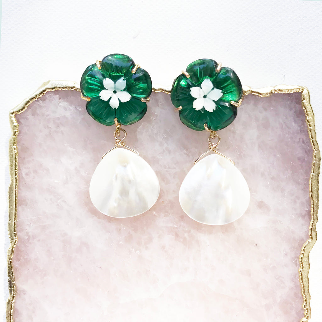 Daphne Earrings in Green Quartz