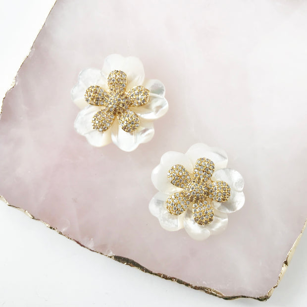 Double Flower Studs in Pave