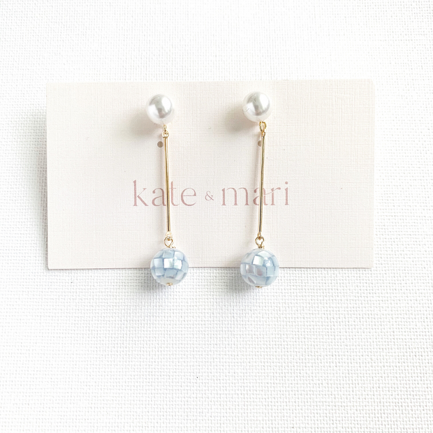 Emme Earrings with Blue Mother of Pearl