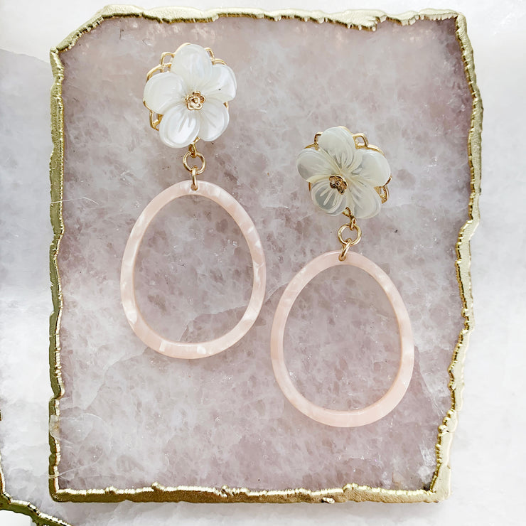 Flower and Pink Resin Hoops