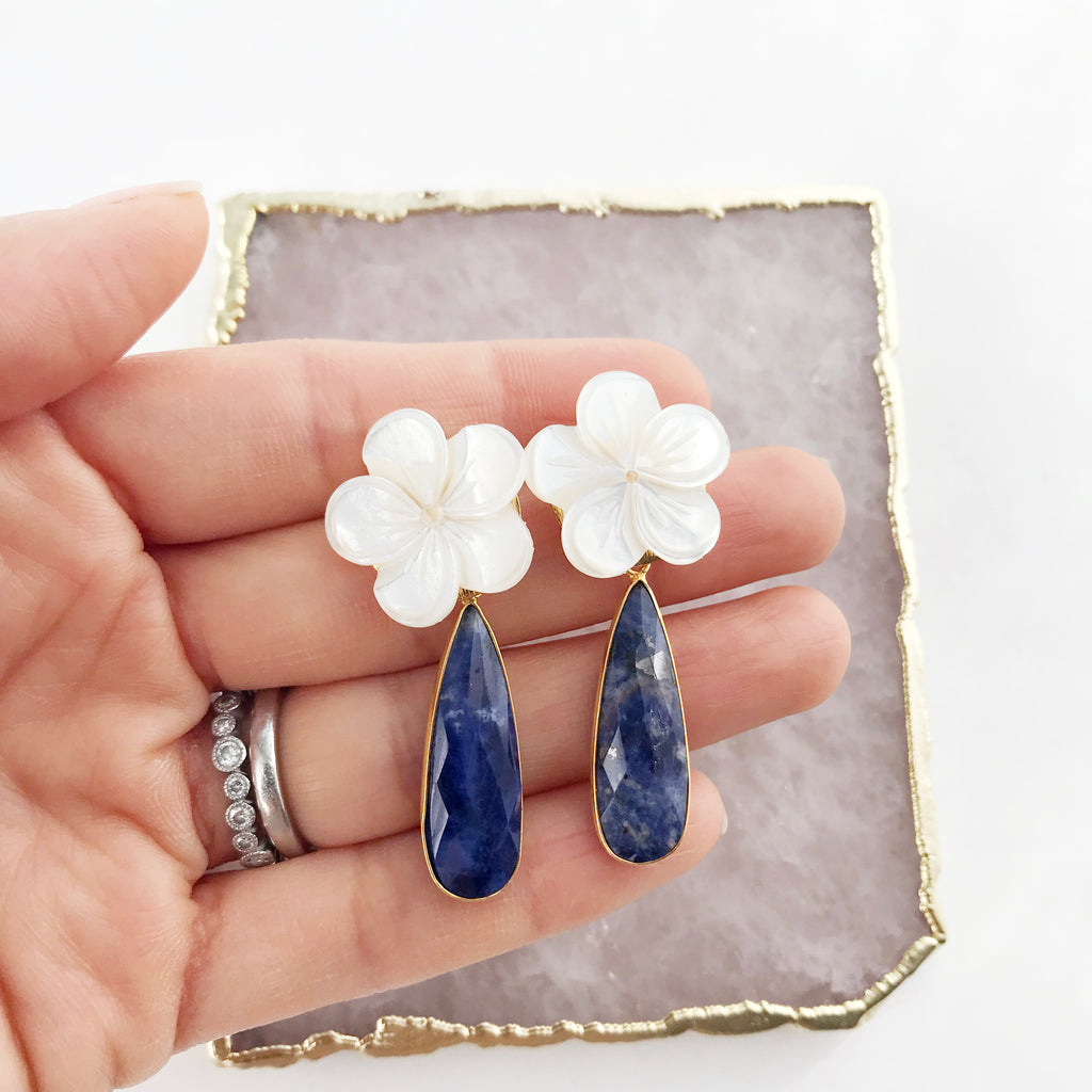 Lapis and Mother of Pearl Flower Earrings