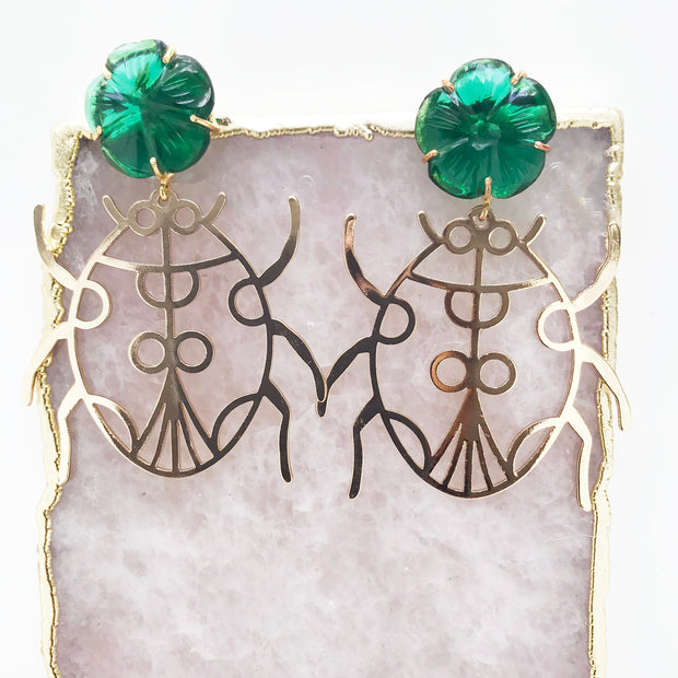 Large Gold Bug Earrings