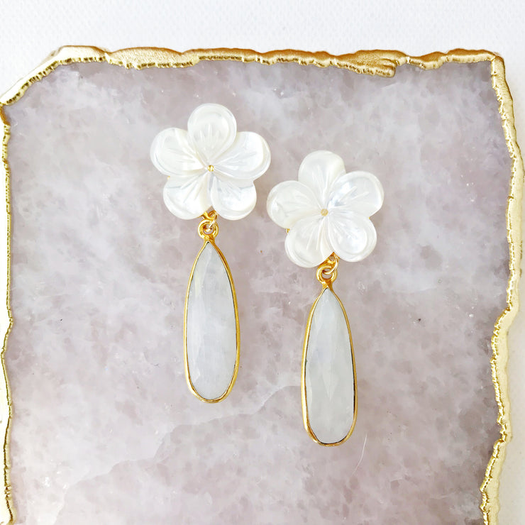 Moonstone and Mother of Pearl Flower Earrings