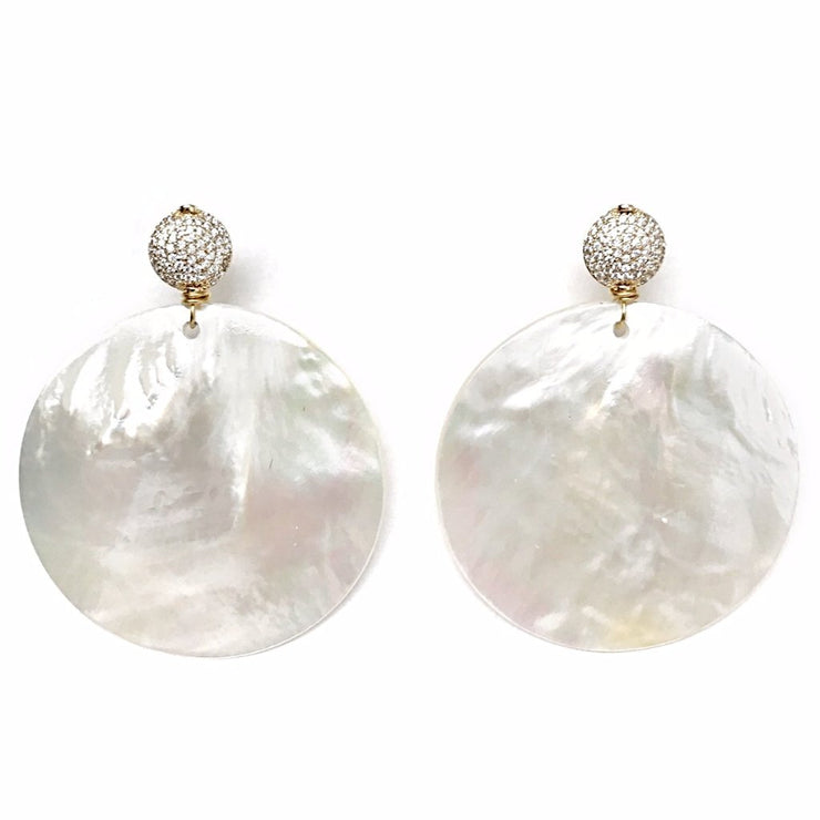 Mother of Pearl Disk Earrings