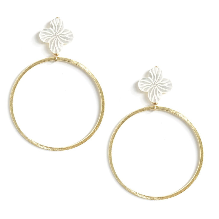 Mother of Pearl Flower Hoops