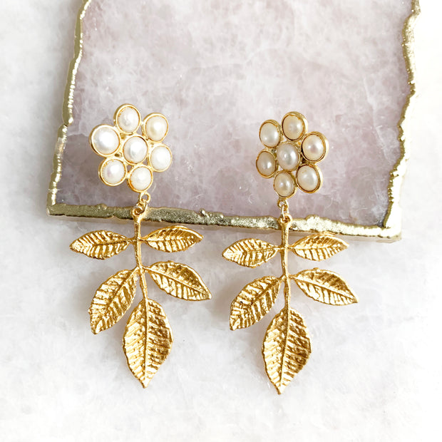 Pearl Cluster and Leaf Earrings