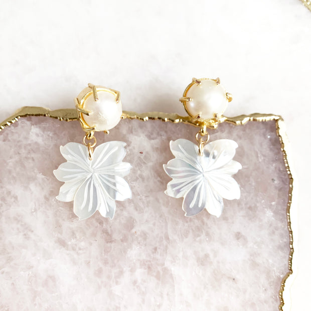 Pearl Stud and Mother of Pearl Leaf Mini Drops