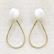 Pearl and Teardrop Brass Hoop
