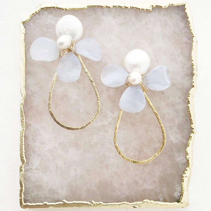 Petal Teardrop Earrings in Blue Lace Agate