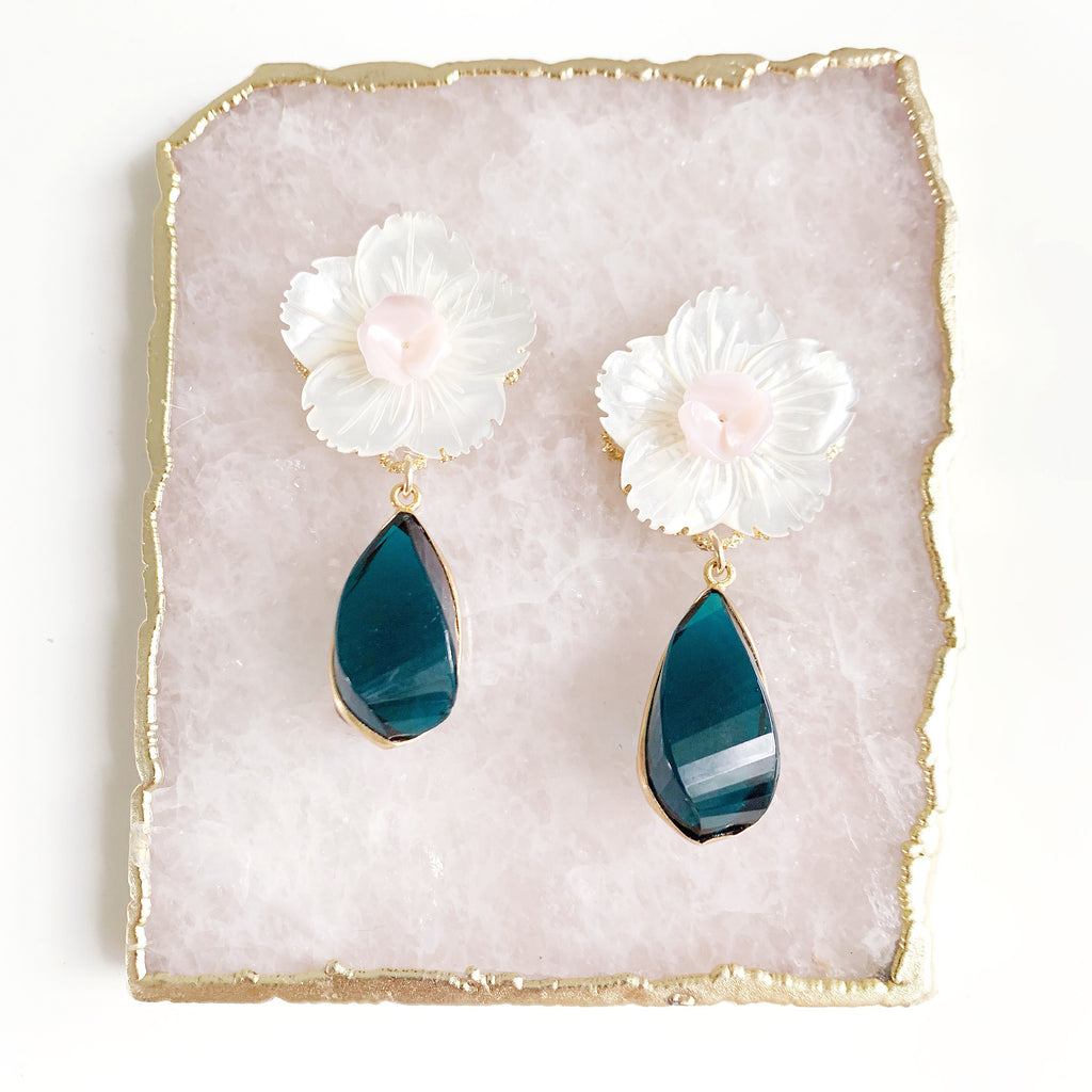 Teal Chalcedony and Flower Stud Earrings