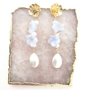 Trumpet Earrings in Blue Lace Agate