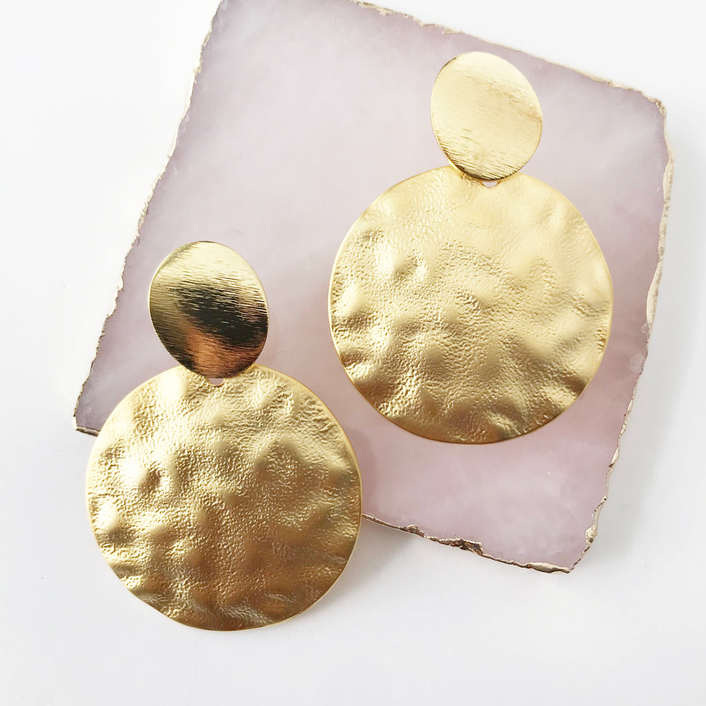 Hammered Double Sphere Earrings