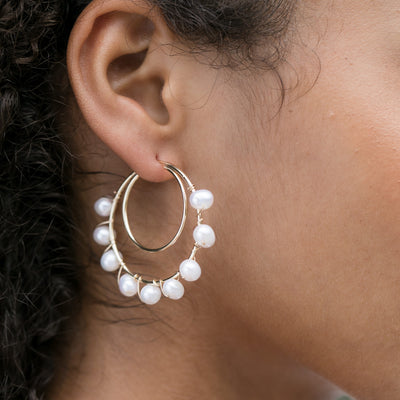 Double Line Hoops with Pearls -- Large