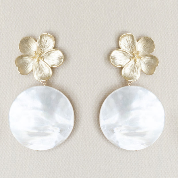 Gold Flower and Mother of Pearl Disk Earrings