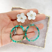 Flower and Green Resin Hoops